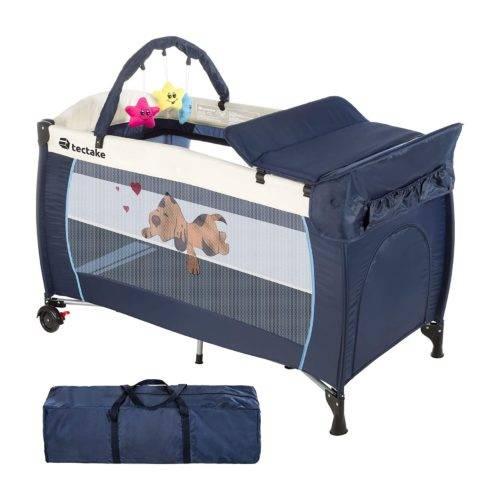 TecTake Cuna infantil de viaje de altura ajustable con acolchado para bebé - disponible en diferentes colores - (Azul   400534)