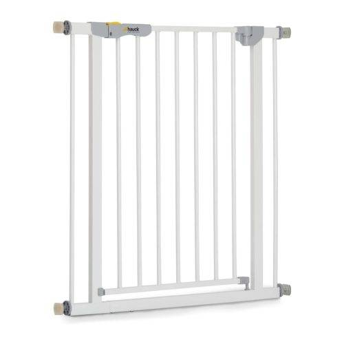 Hauck Autoclose N Stop - Puerta de seguridad para escaleras y puertas, magnética, cierre automático, indicador visual, 75-80 cm, sin taladrar, hierro, blanco