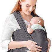 Portabebés, portabebés cómodo, portabebés manos libres, ligero, transpirable, suave, perfecto para recién nacidos y bebés, funda de lactancia con bolsa de transporte (Black Gray)